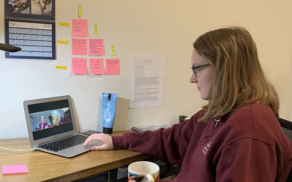 UMF student Maggie Pomerleau on one of her many virtual meetings with mentor teacher Denise Mochamer as she continues her student teaching remotely.