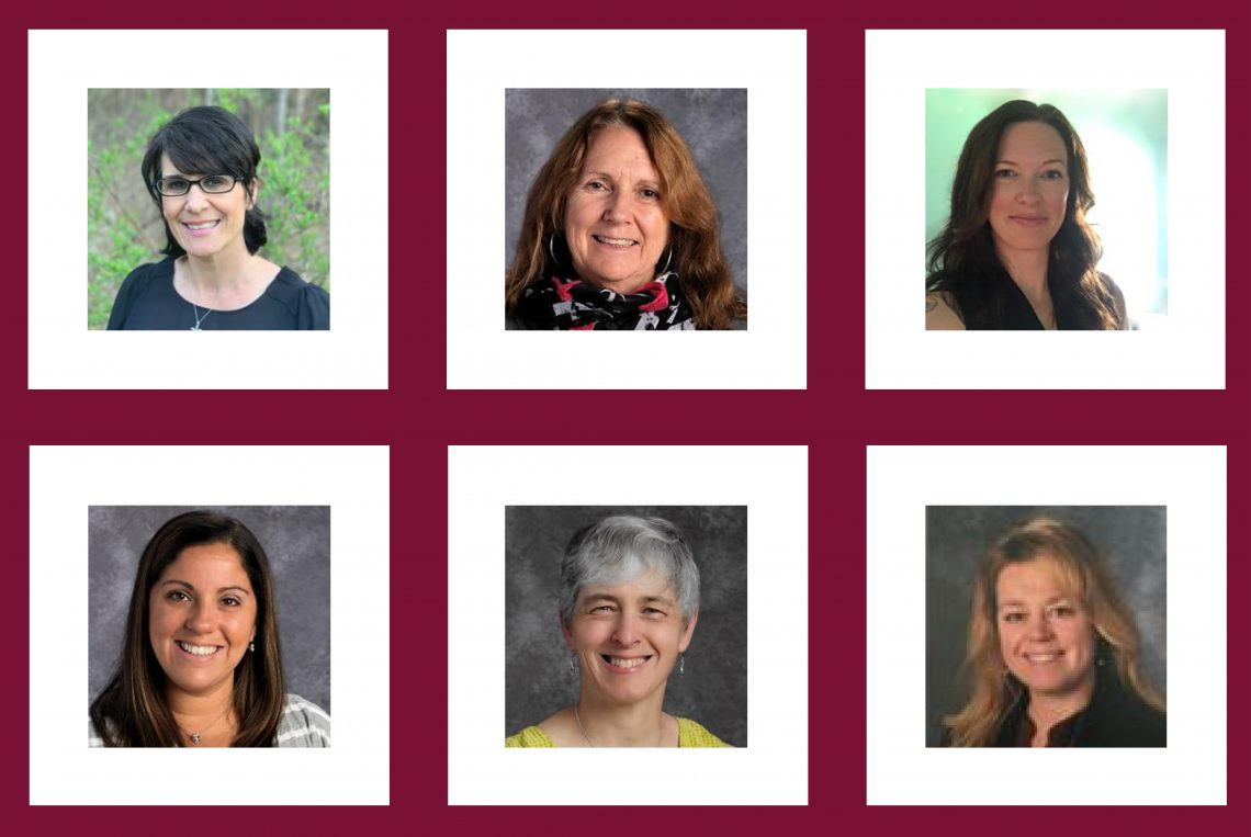 UMF Education graduates named as 2020 Maine County Teachers of the Year, (left to right) 1st row: Nicole Sautter, Melissa Hoisington, Kathryn Meyer. 2nd row: Lindsay Mahoney, Heather Webster, Jenny France.