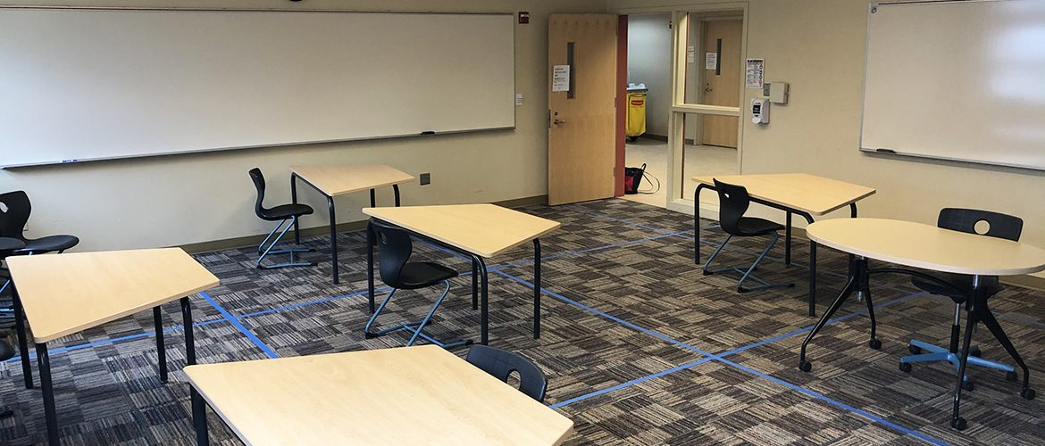 Image of a socially distanced classroom in the Kalikow Education Center
