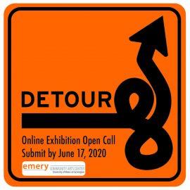 "Logo for Emery Community Arts Center online exhibit ""Detour"""