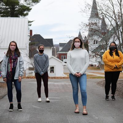 : UMF Peer Care Managers (from left to right) Brianna Hinckley, Sam Folsom, Hunter Ellis and Madison Vigeant, provide peer support in many forms and help student's experience with quarantine and isolation be less stressful.