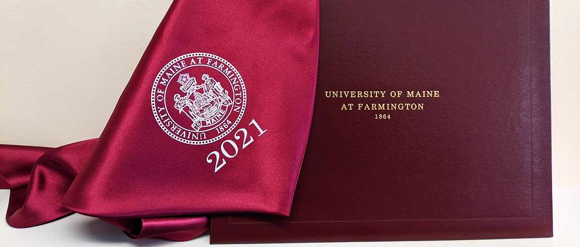 Commencement Class of 2021 sash and diploma