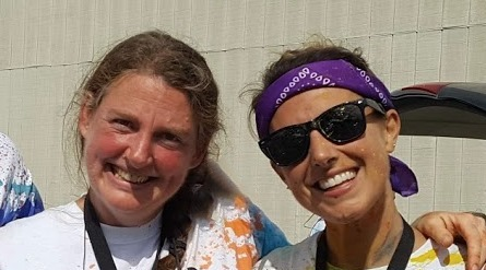 (Left to right) Lori Koban, UMF Mathematics professor, and fellow runner Morgan Leso, school counselor and UMF alumna, prior to Covid pandemic.