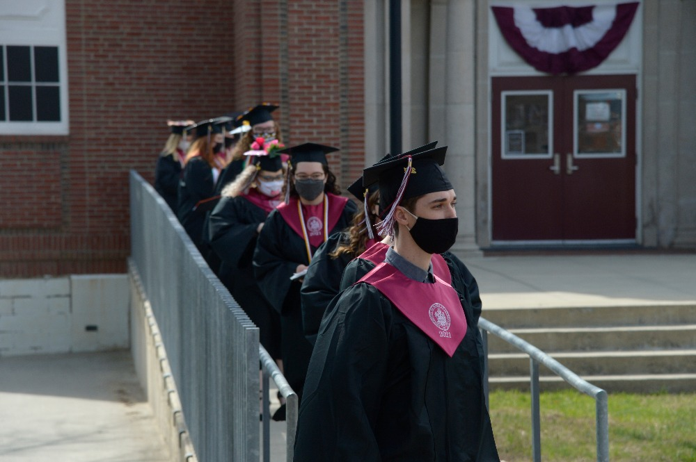 UMF Members of the Class of 2021 in procession at Commencement