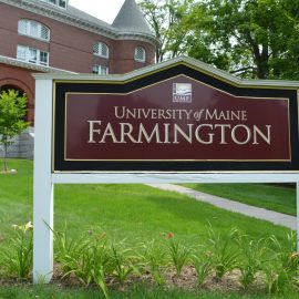 UMF Sign in front of Merrill Hall