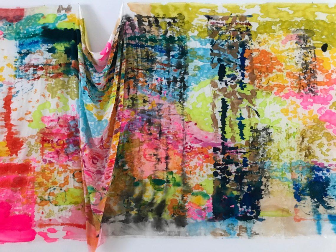 """Detail from """"Seismic Dreams"""" (velvet, silk paint)"""