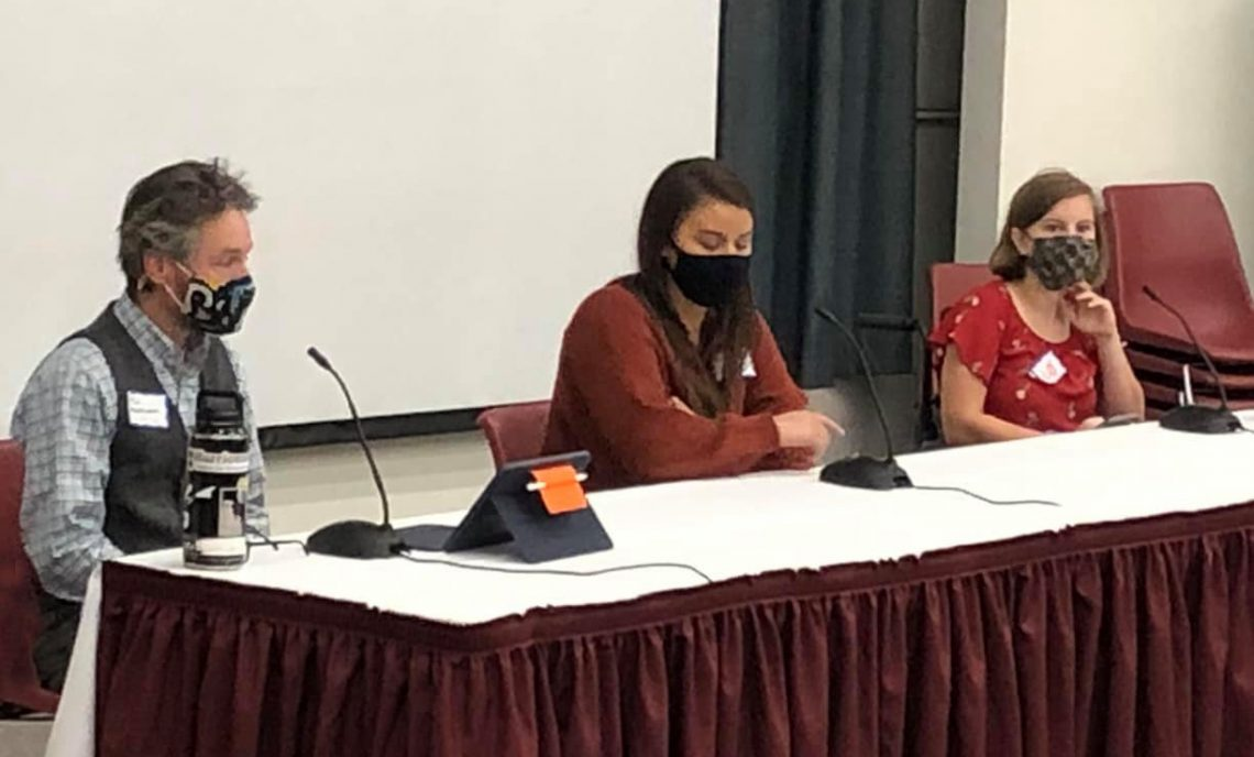 (Left to right) Paul Meinersmann, Technology & Makerspace director at St. George Municipal School Uni;, Hailey Howard, vocational rehabilitation counselor II at the Maine Division of Vocational Rehabilitation; and Lily Bailey, UMF NSF Consortium member and local student
