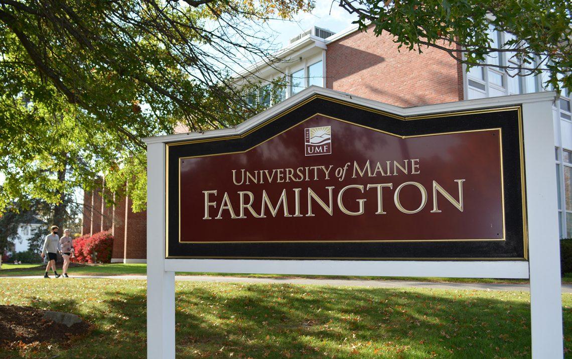 Sign on University of Maine at Farmington campus